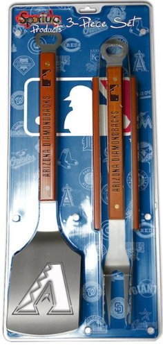 MLB Arizona Diamondbacks 3PC BBQ Set, Heavy Duty Stainless Steel Grilling Tools