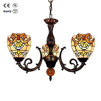 European Tiffany Style Baroque Three Head Chandelier Stained Glass Retro Restaurant Bedroom Balcony Light