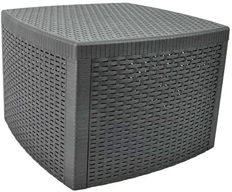 Mesa baja y baúl de almacenaje para jardín o exterior, diseño decorativo de efecto ratán, para bar: Amazon.es: Jardín