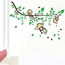 Lovely Monkey Wall Stickers jungle Tree Animals Wall decals Wall Art Stickers For Kids Room Decoration