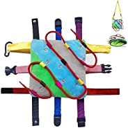 SUMWE Sensory Buckle Pillow Backpack Fine Motor Development Toy Activity, Threading alphabetical Order, Buckle