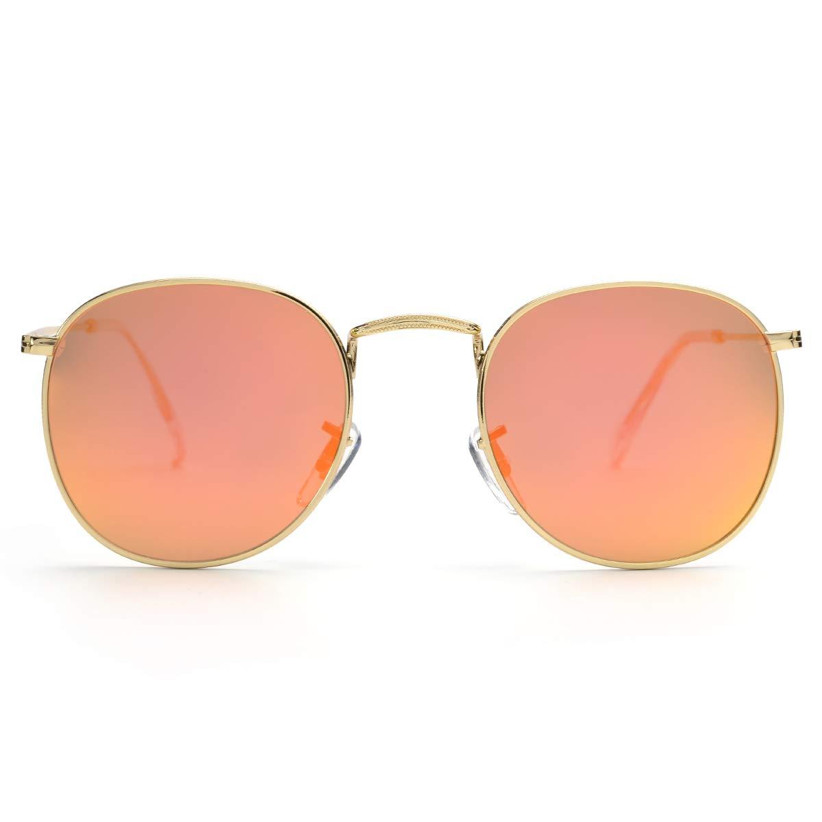 C1 gold Frame orange Revo Lens John Lennon Vintage Small Round Polarized Sunglasses Lightweight Metal Frame Mirrored Lens for Men and Women with CaseUV 400 Predection 50MM HP1003C4
