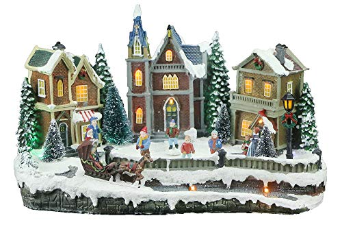 Top Treasures Large Snow Village Lighted Resin Christmas Houses with