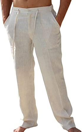 2019 Linen Men/'s Trousers Solid Drawstring Loose Casual Cotton Straight Pants