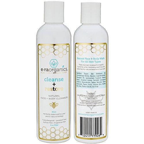 Era Organics Natural Face Wash 8oz Moisturizing Facial Cleanser With Organic Aloe Vera Manuka Honey