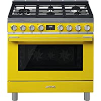 Smeg Portofino CPF36UGMYW 36x 25, 4.5 cu. ft. Freestanding Pro-Style Dual Fuel Range, Yellow
