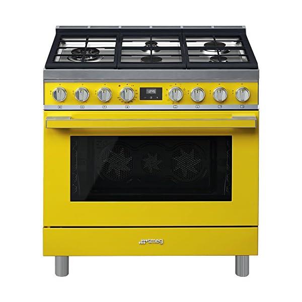 Smeg Portofino CPF36UGMYW 36''x 25'', 4.5 cu. ft. Freestanding Pro-Style Dual Fuel Range, Yellow 1