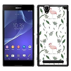 """Pulsar Snap-on Series Teléfono Carcasa Funda Case Caso para Sony Xperia T2 Ultra , Flamingo Pink Hojas minimalista Blanco Verde"""""""
