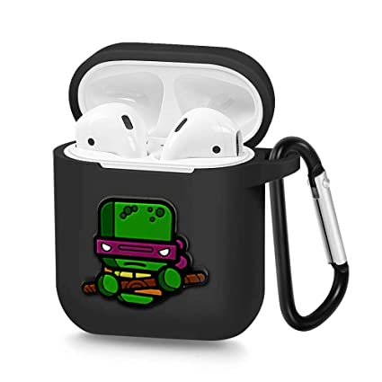Airpods Case, Portable Silicone AirPods Charging Case with Carabiner Compatible with Apple Airpods Teenage Mutant Ninja Turtles (Donatello)