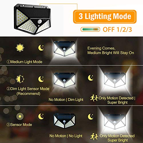 Solar Motion Sensor Lights, 2win2buy 100 LED Outdoor Night Security Wall Light with 【270°Wide Angle】【3 Optional Modes】【IP65 Waterproof】 for Front Door Back Yard Garden Fence Deck Porch (2 Pack)