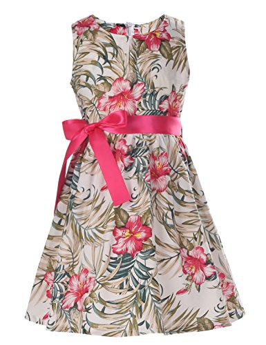 PrinceSasa hot Pink Flower Dress for Baby Girls Dresses,Rose Flower2,3-4 Years(Size -