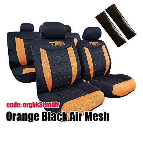 - Car Seat Covers Full Set-Orange Black Color-Breathable Mesh Sports Embroidery Airbag Compatible Split Bench--Fit Most Car Truck SUV Van-Carbon Car Seat Belt Cover Shoulder Pads for Adults and Kids