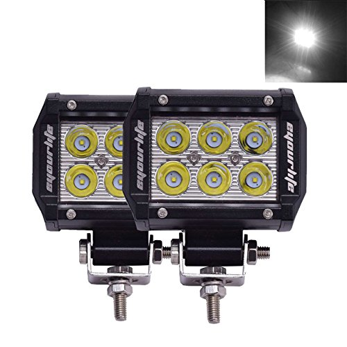 Eyourlife 18w Led Work Light Cree Led 4×4 Off Road Light Bar Pair 4 inch SUV Headlight Spotlight Pods Driving