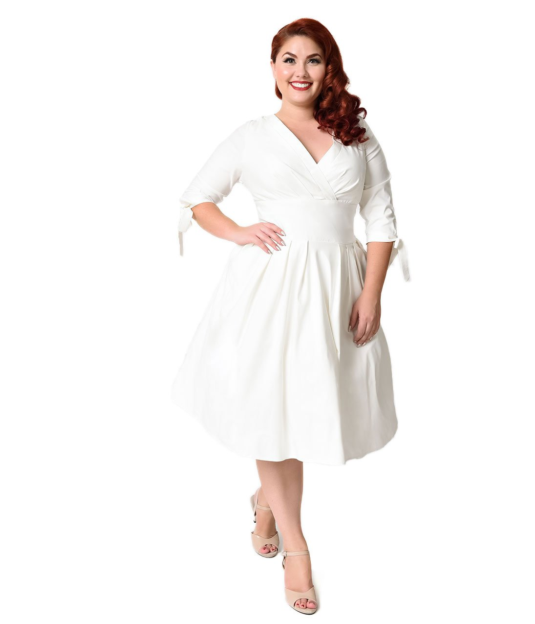 Unique Vintage Plus Size 1950s Style White Three-Quarter Sleeve Diana Swing Dress by Unique Vintage