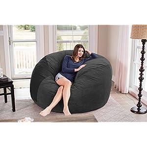 Chill Sack Bean Bag Chair: Giant 6' Memory Foam Furniture Bean Bag - Big Sofa with Soft Micro Fiber Cover - Dark Grey Pebble