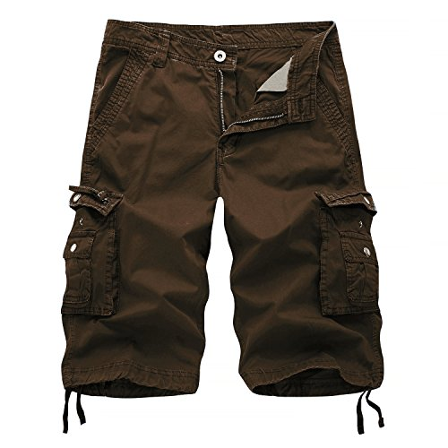 Brown Casual Shorts - AOYOG Men's Solid Multi-Pocket Cargo Shorts Casual Slim Fit Cotton