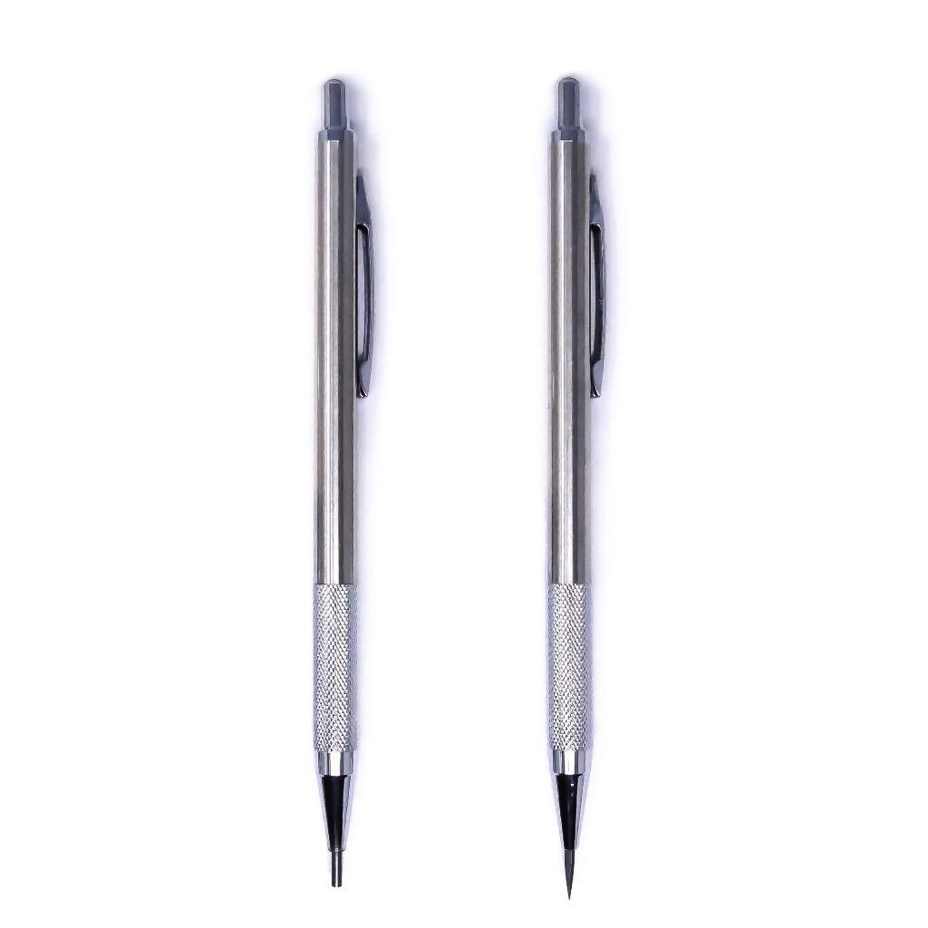 MstrSktch 2mm Drawing Mechanical Pencils - Brushed Metal Barrel, Knurled Grip - 2 Pk