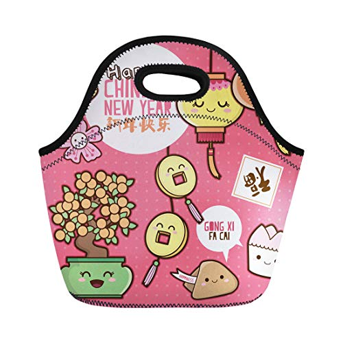Semtomn Lunch Bags Orange Cookie Chinese New Year Cute Cartoon Translation Happy Neoprene Lunch Bag Lunchbox Tote Bag Portable Picnic Bag Cooler Bag ()