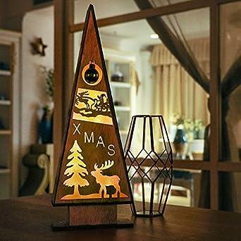Tannenbaum Muster.Victor S Workshop 39 5cm Led Säule Weihnachtsdeko Holz Tannenbaum Muster Tischdeko Wald