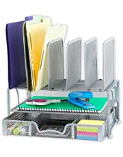 SimpleHouseware Mesh Desk Organizer with Sliding Drawer, Double Tray and 5 Upright Sections