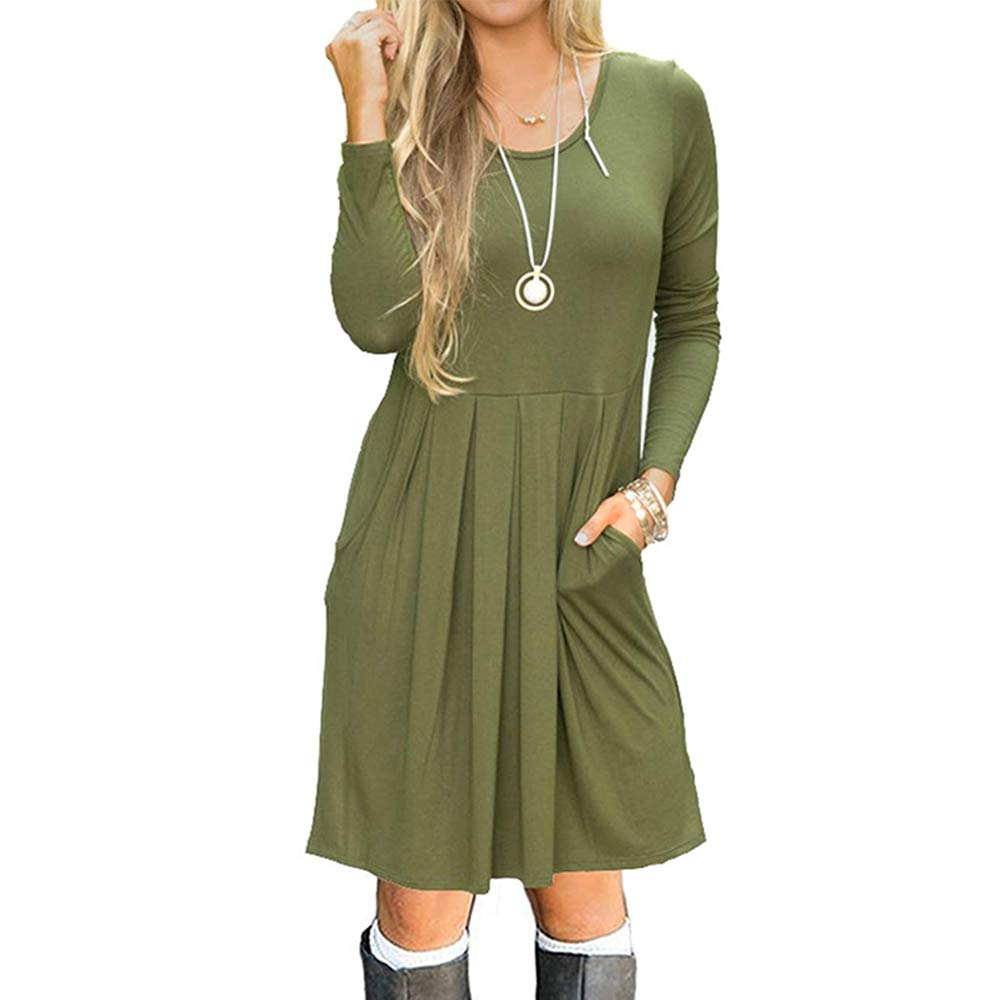 Bia Mova Womens Long Sleeve Casual Loose Swing Pocket Knee Length T