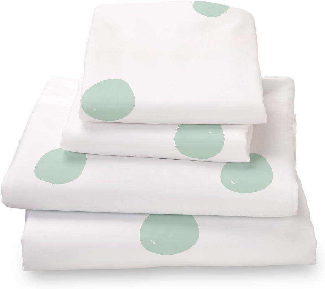Where the Polka Dots Roam Full Size Bed Sheets Seafoam Green Polka Dot 4 Piece Set │ Unisex, Flexible Microfiber, Durable, Wrinkle-Resistant, Stain-Resistant Bedding │ Boys, Girls, Baby, Kids, Toddler