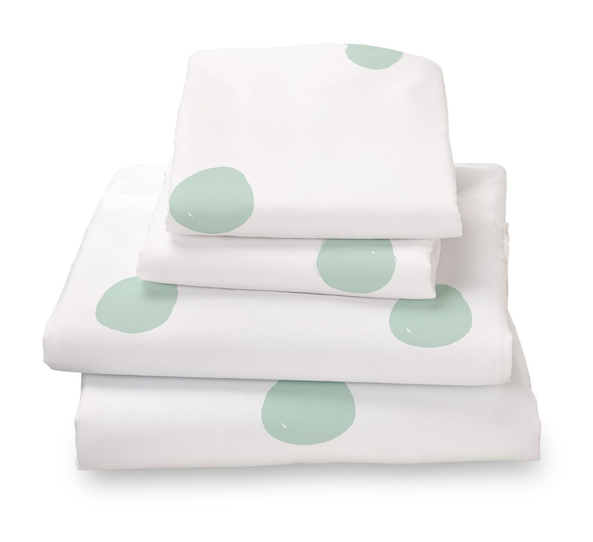 Seafoam Green Polka Dot Twin Size Sheet Set, Soft Sheets for Deep Mattresses, 3 Piece Twin Size Set in White and Mint