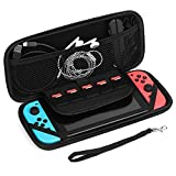 TNP Nintendo Switch Case - Carrying Case Shell Pouch Protective Cover Portable Travel Case Bag with Micro SD Card Game Card Slot Storage Accessories for Nintendo Switch (Black)