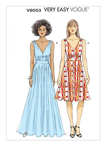 Vogue Ladies Easy Sewing Pattern 9053 Lined Dress with Full Skirt