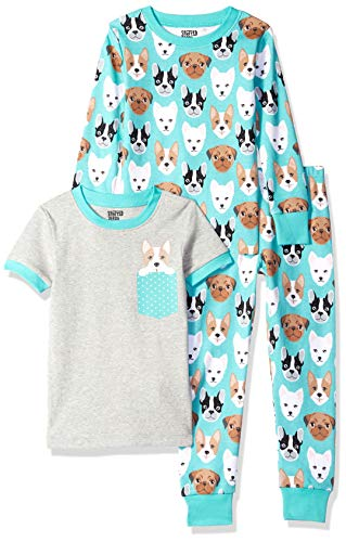 Amazon Brand - Spotted Zebra Big Kid 3-Piece Snug-Fit Cotton Pajama Set, Puppies, Medium (8) -