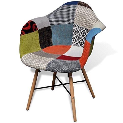 Esszimmerstühle bunt  vidaXL Esszimmerstuhl mit Holzbeinen und Armlehnen Bunt Patchwork ...