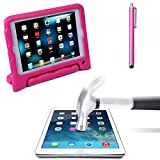 HDE iPad Mini Case Kids Shock Proof Foam Cover Stand for Apple iPad Mini / 2 / 3 + Glass Screen Protector + Stylus (Pink Quilted)
