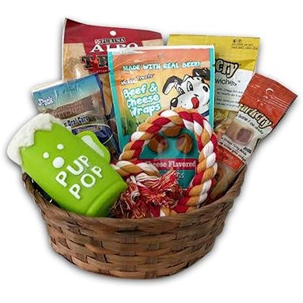 Amazon Com Joice Dog Gift Basket Set Puppy Pets Treats Crew Toys Pet Supplies