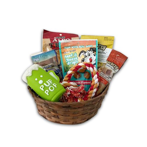 Dog Gift Basket set Puppy Pets Treats Crew Toys