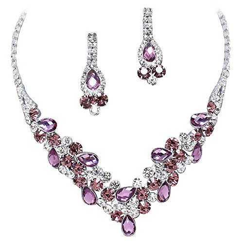 Elegant Lavender Purple W Eggplant Purple Accents V-shaped Garland Necklace Set K5