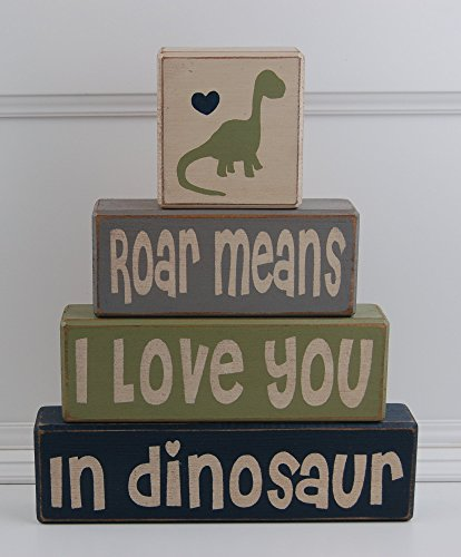 Roar Means I Love You In Dinosaur - Primitive Country Wood Stacking Sign Blocks Dinosaur Decor Children's Room-Dinosaur Birthday-Dinosaur Nursery Baby Shower by Blocks Upon A Shelf (Image #1)