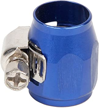 AN4 4 AN Blue Hose End Finisher Aluminium Alloy Fuel Oil Water Pipe Clip Clamps