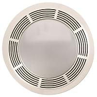 Broan 751 Ventilador y luz con rejilla blanca redonda y lente de vidrio, 100 CFM 3.5 Sones
