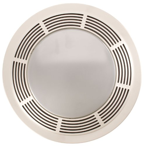 Broan-NuTone 751 Round Fan and Light Combo for Bathroom and Home, White Grille with Glass Lens, 100-Watts, 3.5 Sones, 100 CFM