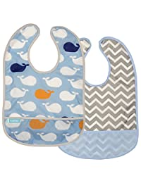 Kushies Baby B1182-2 Clean Bib Waterproof-Bib, Blue Whales/Blue Chevron, 12-Month-Plus