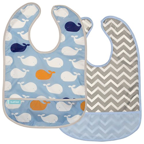 (Kushies Cleanbib Waterproof Feeding Bib with Catch All/Crumb Catcher Pocket. Wipe Clean and Reuse! Lightweight for Comfort, 2-Pack, Baby Boys, 12 Months and Up, Blue Whales/Blue Chevron )