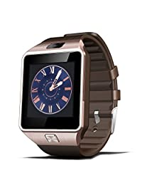 Efanr® 2015 Touch Screen Bluetooth Smart Watch Bracelet Exercise Smartwatch Running Wristbands Sports Watches Luxury Fitness Health Tracking System Wrist Watch Women Men Cell Phone Mate Partner Pedometer Step Walking Counter Activity Tracker Sleep Monitoring Support SIM TF Card Built-in Camera Video Recorder Anti Lost Sedentary Reminder for Android 4.3+ IOS Smartphones, Compatable with Apple iPhone 6 Plus 5S 5C 4S HTC One M8 Lenovo Nokia Lumia One Plus One Oppo Xiaomi Sony Xperia Z3 Huawei LG G3 Nexus Samsung Galaxy Note 4 Note 3 S6 S5 S4 S5 Active (Gold)