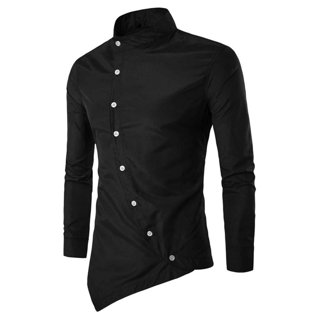 FUNOC Men's Business Shirts Irregular Asymmetric Stand Collar Long Sleeve Shirt