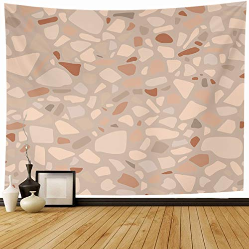 Ahawoso Tapestry 80 x 60 Inches Polished Brown Concrete Abstract Pattern Terrazzo Colors Wall Floor Flooring Geometric Granite Home Decor Wall Hanging Print for Living Room Bedroom - Flooring Brown Polished