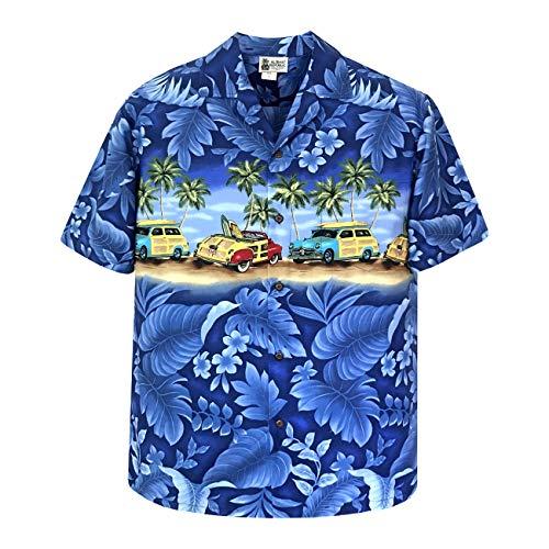 Aloha Republic Large Blue Panoramic Woody Cars Beach Hawaiian Shirt ()