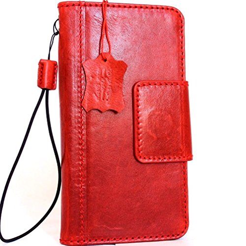 Genuine natural Leather Case for Samsung Galaxy S8 plus Book Wallet Luxury magnet Cover S cards slots Hand made Retro Id s 8 Red daviscase