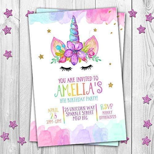unicorn personalised birthday party invitations invites rainbow