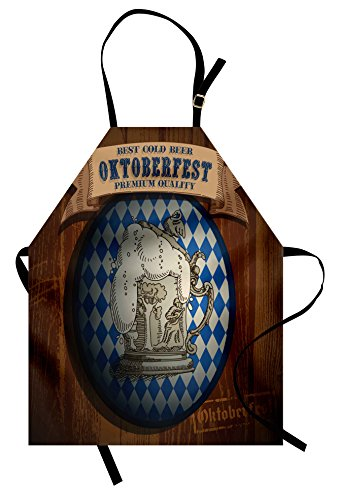 t Apron, Best Cold Beer Oktoberfest Premium Quality Classic Advertising Illustration, Unisex Kitchen Bib Apron with Adjustable Neck for Cooking Baking Gardening, Brown Blue ()
