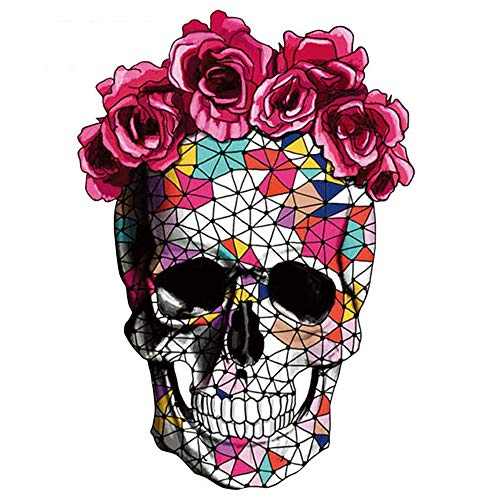 - ARTEM 10.2X7.1inch Mosaics Rose Skeleton Sticker Thermal Transfer Patches for Clothes Patch DIY T-Shirt Hoodies and Denim Jacket