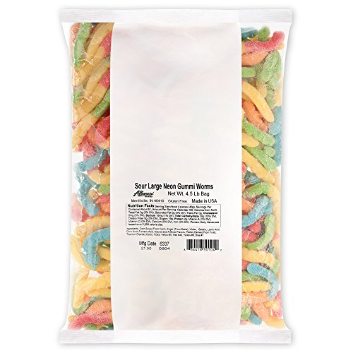Albanese Candy, Sour Large Neon Gummi Worms, 4.5-pound Bag